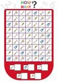 a folha para crianças, conta o número de objetos, aprende os números, quantos objetos, jogo educacional das crianças ilustração do vetor