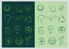 Folha, planta, logotipo, verde, vetor ajustado da ecologia Fotos de Stock Royalty Free