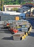 Folha, rolo e fio de aço empilhados de metal Fotografia de Stock