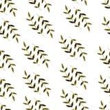 Folha tirada da aquarela do teste padrão da natureza mão sem emenda Imagem de Stock