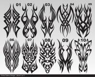 Folha tribal preta 001-010 do projeto da tatuagem Foto de Stock Royalty Free