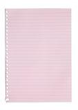 Folha vazia do papel cor-de-rosa de um caderno Fotografia de Stock