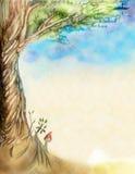 Folha velha com um retrato como uma árvore ilustração do vetor