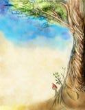 Folha velha com um retrato como uma árvore ilustração stock