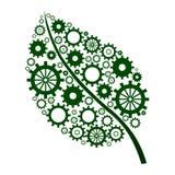 Folha verde com engrenagens ilustração do vetor