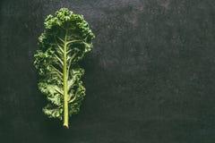Folha verde da couve no fundo escuro, vista superior com espaço da cópia Vegetais saudáveis da desintoxicação Conceito comendo e  imagem de stock royalty free