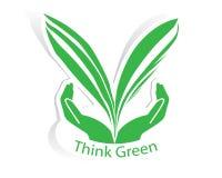 Folha verde de Eco com vetor do conceito da mão Foto de Stock