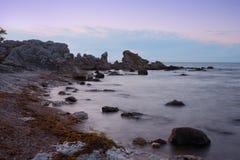 Folhammar,哥得兰岛岩石海岸  免版税图库摄影
