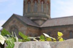 Folhas antes da igreja cristã na parede de pedra imagem de stock royalty free