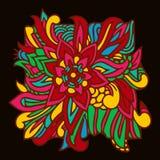 Folhas coloridas do elemento oriental do teste padrão ilustração stock