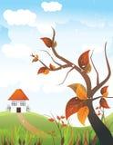 Folhas com uma casa na paisagem atrás   Imagens de Stock