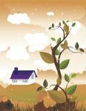Folhas com uma casa na paisagem atrás   Foto de Stock