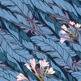Folhas da banana e teste padrão da diagonal da flor do frangipani Imagem de Stock