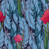 Folhas da banana e teste padrão do vertical da flor do etligeria Imagem de Stock
