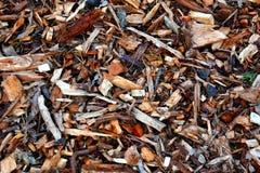 Folhas da casca e palha de canteiro de madeira dos chippings Fotografia de Stock