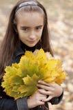 Folhas da menina e do amarelo Foto de Stock