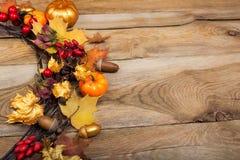 Folhas de bordo douradas grinalda da ação de graças, espaço da cópia Imagens de Stock