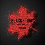 Folhas de bordo vermelhas com texto Black Friday Ilustração do vetor ilustração do vetor