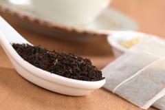 Folhas de chá preto Imagem de Stock
