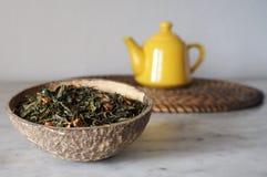 Folhas de chá verdes secadas em um shell do coco Imagem de Stock