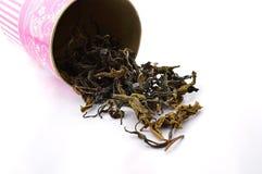 Folhas de chá verdes secas Foto de Stock