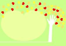 Folhas de espalhamento do coração da árvore da mão. Ilustração Royalty Free