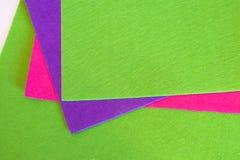 Folhas de feltro Grupo colorido das folhas de feltro Jogo Sewing imagem de stock
