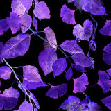 Folhas de incandescência do néon Teste padrão sem emenda misterioso da noite watercolor Imagens de Stock