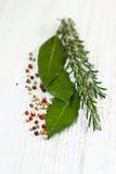 Folhas de louro, alecrins e pimenta do louro Fotografia de Stock