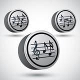 Folhas de música com os ícones da chave de g e do vetor das notas ajustados Imagens de Stock