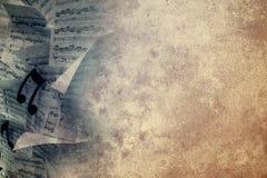 Folhas de música do Grunge ilustração royalty free