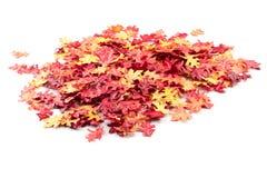 Folhas de outono artificiais em uma pilha Fotos de Stock