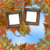 Folhas de outono brilhantes com frame de madeira Imagens de Stock Royalty Free