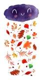 Folhas de outono da aquarela Fotografia de Stock