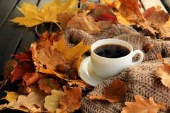 Folhas de outono e café quente Fotos de Stock Royalty Free