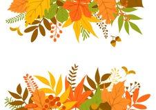 Folhas de outono encabeçamento e fundo do quadro da beira ilustração do vetor