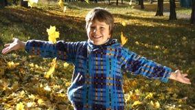 Folhas de outono de jogo de sorriso do menino no parque ensolarado filme