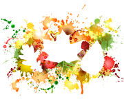 Folhas de outono no fundo colorido das manchas Imagens de Stock