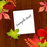 Folhas de outono no fundo de madeira Ilustração do vetor Imagens de Stock