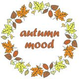 Folhas de outono - quadro redondo ilustração do vetor