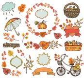 Folhas de outono, ramos Decorações da colheita da planta Fotografia de Stock Royalty Free