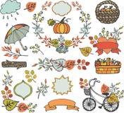 Folhas de outono, ramos Decorações da planta, colheita Fotos de Stock Royalty Free