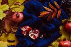 Folhas de outono, romã e lenço azul Fotografia de Stock Royalty Free