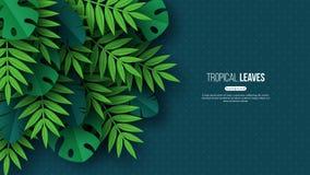 Folhas de palmeira tropicais da selva exótica Design floral do verão com fundo escuro pontilhado da cor de turquesa, vetor ilustração do vetor