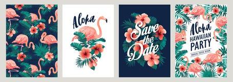 Folhas de palmeira tropicais do verão com as flores exóticas do flamingo e do hibiscus Moldes do vetor Elemento do projeto para o ilustração stock