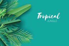 Folhas de palmeira tropicais do verão na moda, plantas estilo do corte do papel verão havaiano exótico Espaço para o texto Obscur ilustração do vetor