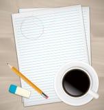 Folhas de papel, a borracha e o lápis ilustração do vetor