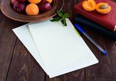 Folhas de papel brancas para seu texto Livros para registros e uma pena no foregroud As ameixas e os abricós maduros em uma argil Imagens de Stock