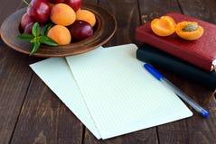 Folhas de papel brancas para seu texto Livros para registros e uma pena no foregroud As ameixas e os abricós maduros em uma argil Foto de Stock Royalty Free