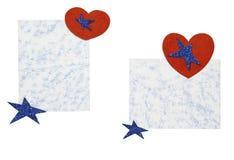 Folhas de papel com corações e estrelas Fotografia de Stock